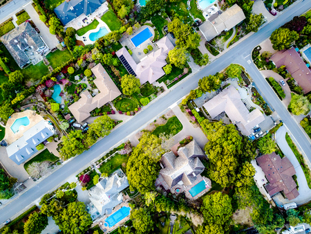 Abstract residential buildings from above Stock Photo