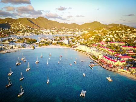 saint martin: Tropical resorts built on coastline in Saint Martin Stock Photo