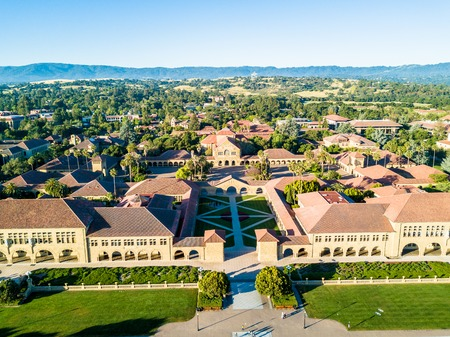 Drone view of Main Quad of Stanford University