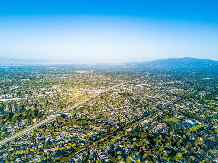 Drone point of view of Silicon Valley in California