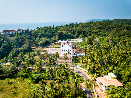 Drone View of Reis Magos Church in Goa India Imagens