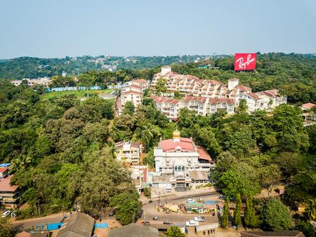 Penha de Franca Goa India November 24, 2017: Drone View of town Betim