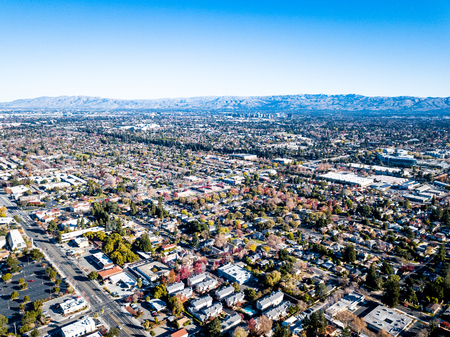 Aerial photo of Silicon Valley in California
