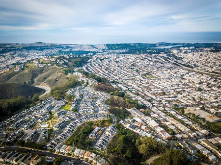 Aerial photo of Daly City in California