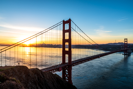 Golden Gate Bridge in San Francisco California during sunrise Stock Photo