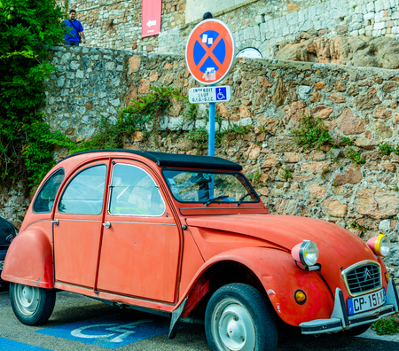 Classic car on streets of France Editorial