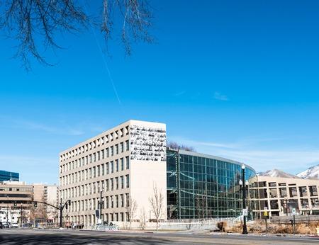Building of  Salt Lake City Public library Utah Editorial