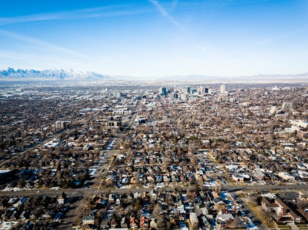 Aerial view of Salt Lake City Utah in the morning Stock Photo