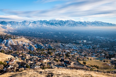 Aerial view of Salt Lake City Utah in the early morning
