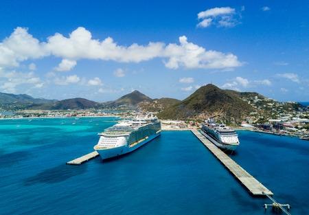 Cruise ship terminal in Saint Marten Stock Photo