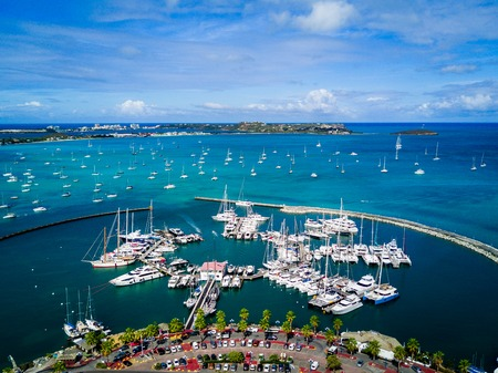 Aerial view of Marigot Bay Port in Saint Marten