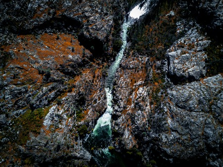 Top down view of mountain river in Sierra Nevada Stock Photo