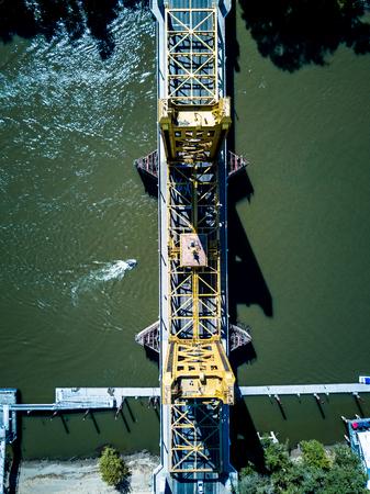 Aerial view of Tower Bridge in Sacramento California Stock Photo