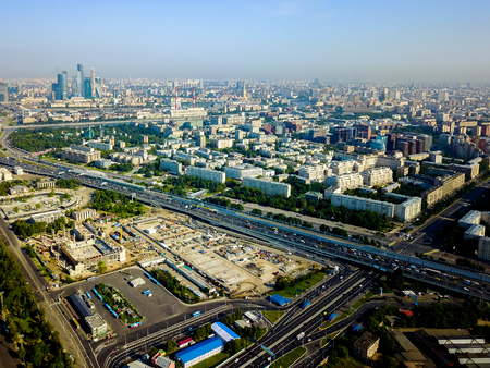 Aerial view of city center of Moscow Russia