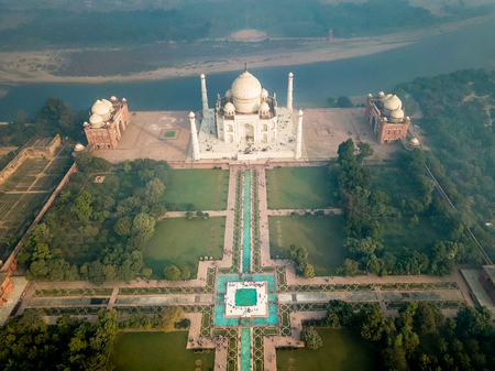 Aerial view of Taj Mahal in Agra India covered with morning fog
