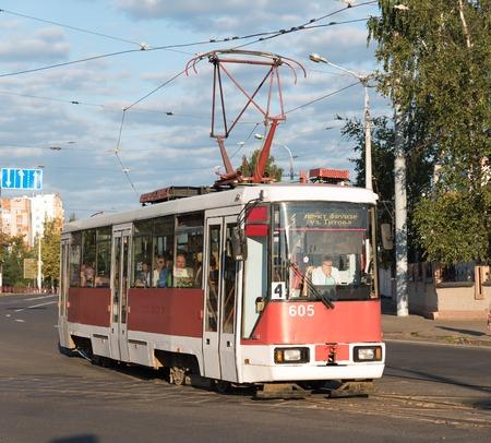 Tram going through Vitebsk  streets