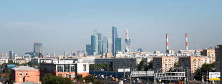 City skyline with skyscrapers in Moscow city center
