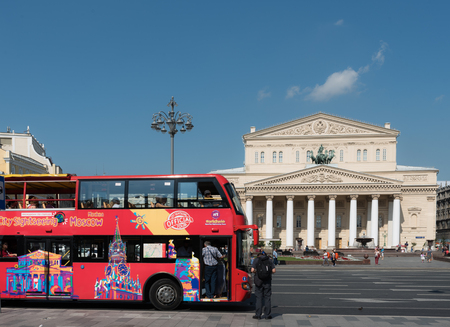 Tourist bus on the streets of Moscow and Big Theater