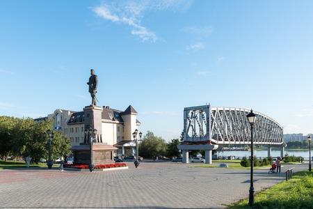Sculpture of Tsar Alexander III on the Ob river bank in Novosibi