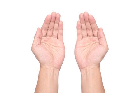 soumis: mains paumes Homme détenues objet isolé fond blanc