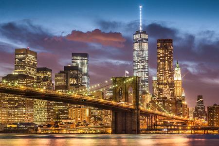 Brooklyn Bridge at twilight time, New York City, USA