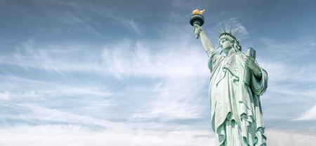 The Statue of Liberty with the beautiful sky, Landmarks of New York, USA