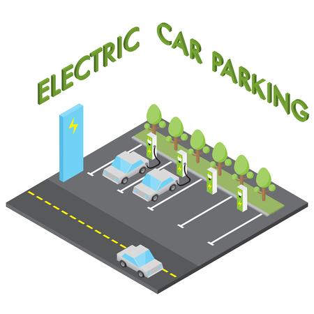 Electric car parking concept Vectores