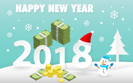 Happy New Year 2018 card with cute snowman and pile of money vector.