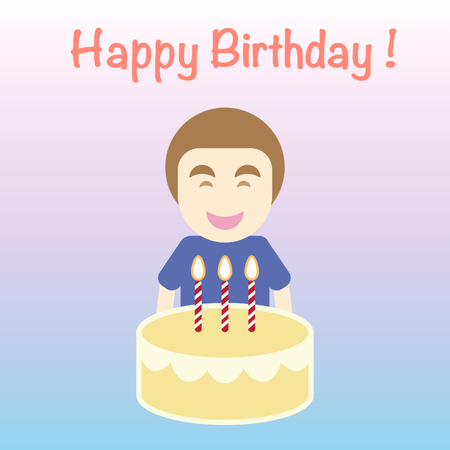 Happy Birthday card, simple flat cartoon vector, the man carry cake with candle