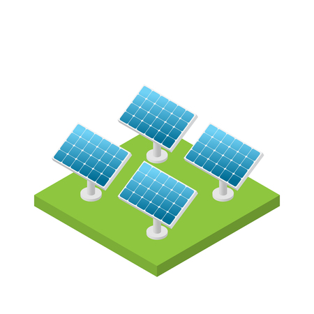 Simple isometric solar cell power plant isolated, white background