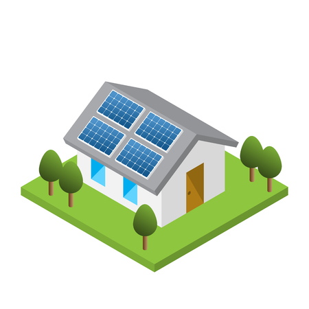 Prosty dom izometryczny z panelami słonecznymi na dachu, na białym tle