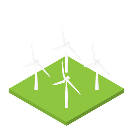 Wind turbine isometric vector natural future energy isolated vector illustration Vectores