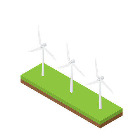 Wind turbine isometric vector, natural future energy, illustration white background. Ilustracja
