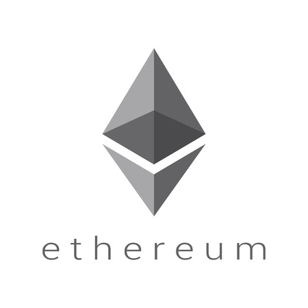 Ethereum logo vector, cryptocurrency sign, smart contract future technology.
