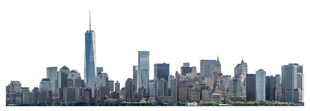 One World Trade Center and skyscraper, high-rise building in Lower Manhattan, New York City, isolated white background with clipping path Zdjęcie Seryjne