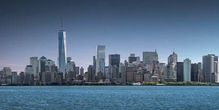 Panorama Lower Manhattan, skyline and urban background, New York City, USA