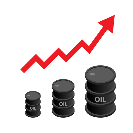 Black oil barrel isometric with red arrow, concept of increasing crude oil price