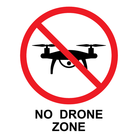No Drone Zone sign, vector isolated