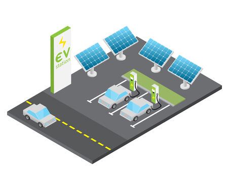 Isometric electric vehicle charging station with solar power concept, isolated vector Ilustracja
