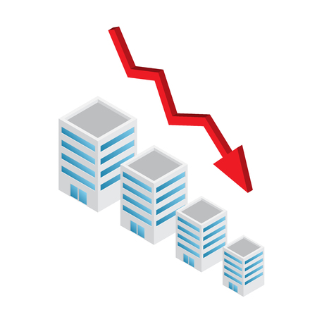 Abwärtstrend des Immobilienwertes mit Pfeil, isometrischer Infografik-Vektor Vektorgrafik