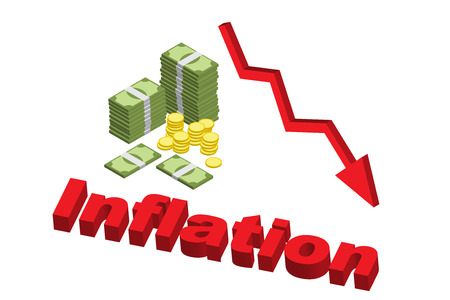 Decreasing value of money effect from inflation with down arrow, isometric vector