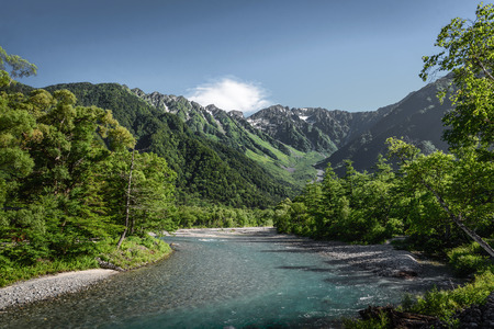 Kamikochi national park with Mount Hotaka background in summer season, Matsumoto, Japan