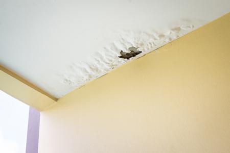 Damaged ceiling from water leak in rainy season 版權商用圖片 - 111271061