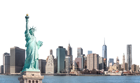 The Statue of Liberty with high-rise building in Lower Manhattan, New York City, isolated with clipping path Zdjęcie Seryjne
