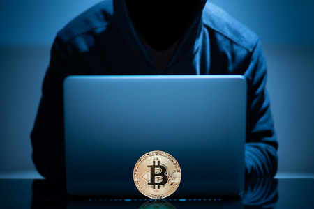 Hacker try to hack bitcoin blockchain system with laptop in dark room Zdjęcie Seryjne - 123271706