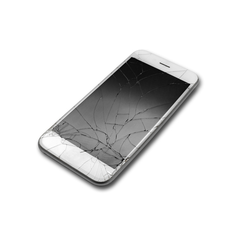 Cracked phone screen isolated white background with clipping path Zdjęcie Seryjne