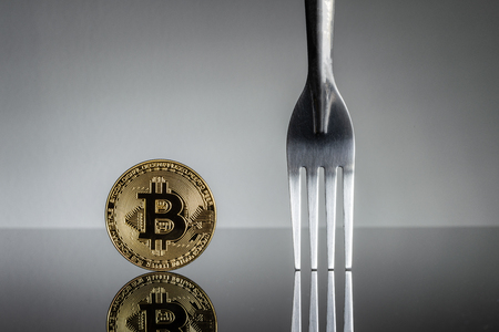 Bitcoin physical coin symbol with silver fork