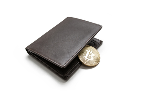 Bitcoin inside leather wallet, concept of e-wallet, isolated white background