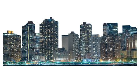 Skyscraper at night, high-rise building in Lower Manhattan, New York City, isolated white background with