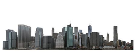 One  Trade Center and skyscraper, high-rise building in Lower Manhattan, New York City, isolated white background with Zdjęcie Seryjne - 135721686
